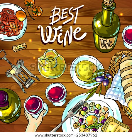 Beautiful hand drawn food illustration wine and cheese top view - stock vector