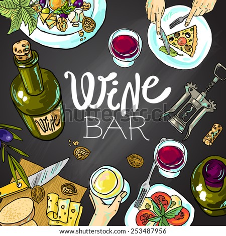 Beautiful hand drawn food illustration wine and cheeseon the chalkboard - stock vector