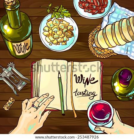Beautiful hand drawn food illustration wine tasting top view - stock vector