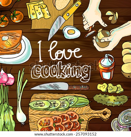 Beautiful hand drawn illustration cooking top view