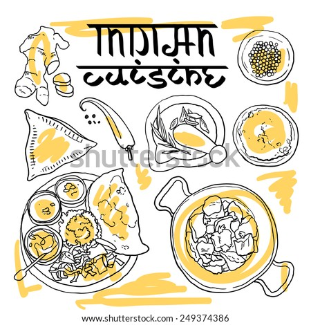 Beautiful hand drawn illustration indian food top view for Art of indian cuisine