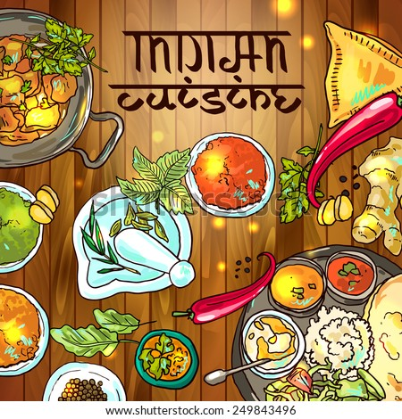 beautiful hand drawn illustration indian food top view - stock vector