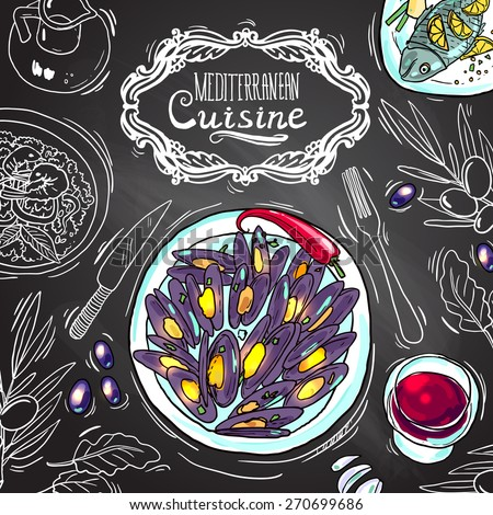 Beautiful hand drawn illustration mediterranean cuisine on the chalkboard - stock vector