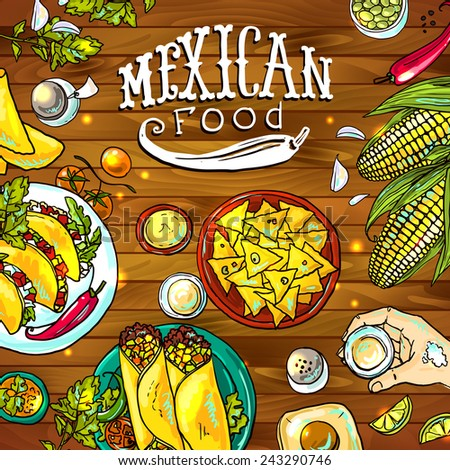 beautiful hand drawn illustration mexican food on the wood textyred - stock vector