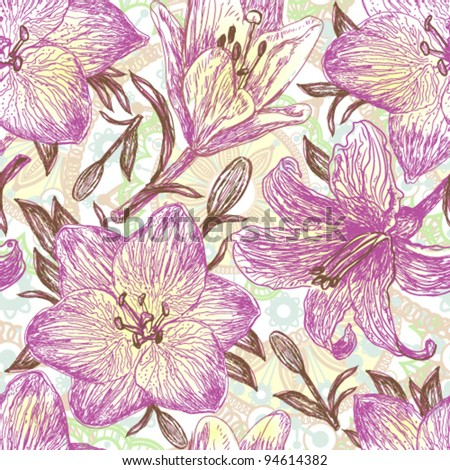 Beautiful hand drawn pattern with blooming lilies. Not autotrace! - stock vector