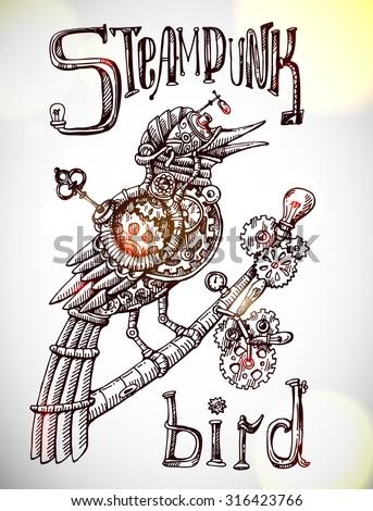 Beautiful hand drawn poster- mechanical bird. Steampunk style. - stock vector