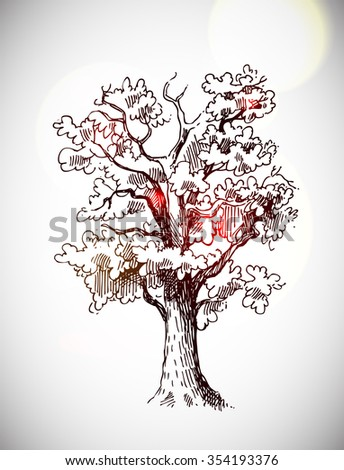 Beautiful hand drawn sketch tree for your design