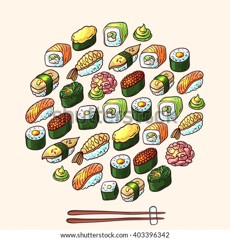 Beautiful hand drawn vector illustration sushi. Doodle style.