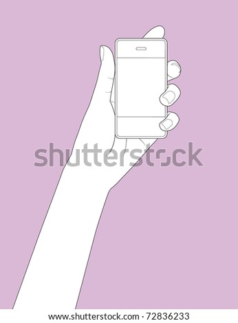 Beautiful hand holding a smart phone in outline version - stock vector