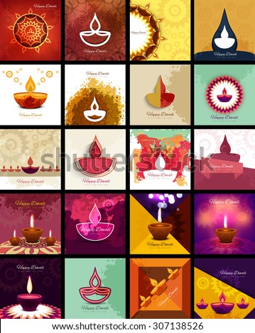 Beautiful happy diwali 20 collection celebration presentation card colorful hindu festival vector - stock vector