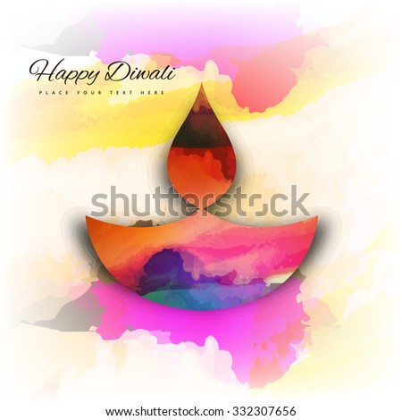 Beautiful happy diwali colorful card background illustration  - stock vector