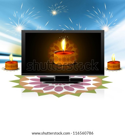 Beautiful happy diwali led tv screen celebration colorful fantastic background - stock vector