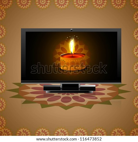 Beautiful happy diwali led tv screen celebration reflection background - stock vector