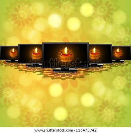 Beautiful happy diwali led tv screen set reflectio green colorful vector - stock vector