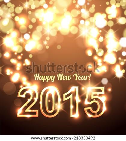 Beautiful Happy New Year 2015 golden celebration background vector  - stock vector