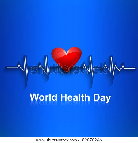 Beautiful Heart beats World health day concept with blue colorful background illustration