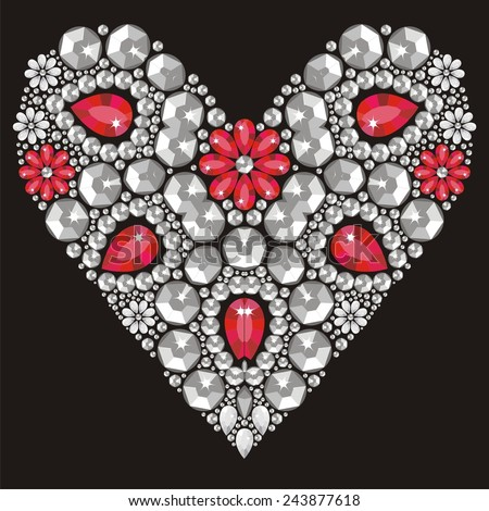 Beautiful Heart Of Shining Crystals, Congratulations On Valentineu0027s Day,  Love, Romance, Wedding
