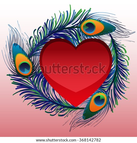 Beautiful heart with peacock feathers - stock vector