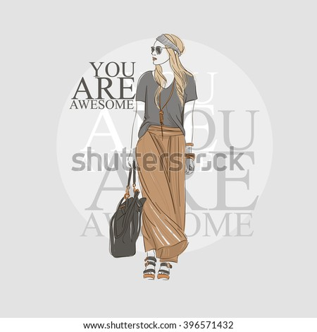 Beautiful hipster blonde hair young woman in summer clothes and glasses with bag. Hand drawn illustration. Vector illustration. - stock vector