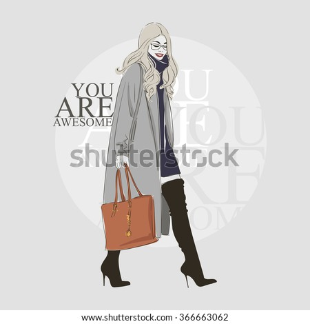 Beautiful hipster young  women in a fashion gray jacket and black boots with heels. Vector hand drawn illustration. - stock vector