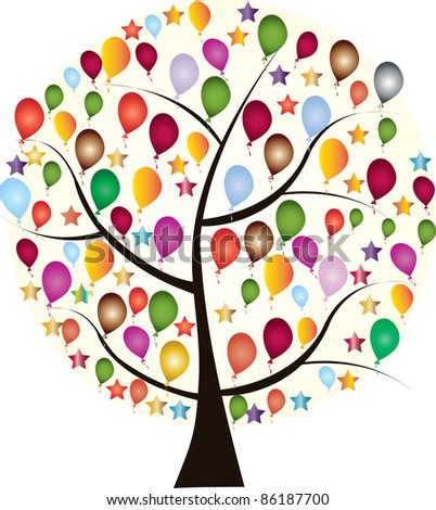Beautiful holiday tree with colorful balloons and stars on a white - stock vector