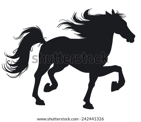 Beautiful horse. Silhouette. - stock vector