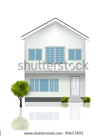 Beautiful House isolated on white - stock vector