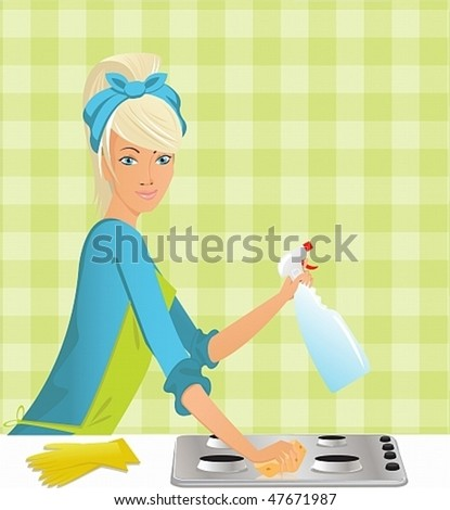 beautiful housewife washing the gas stove by means of a miracle - stock vector