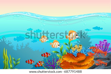 Beautiful Illustration Fish Wave Marine Life Stock Vector 687791488