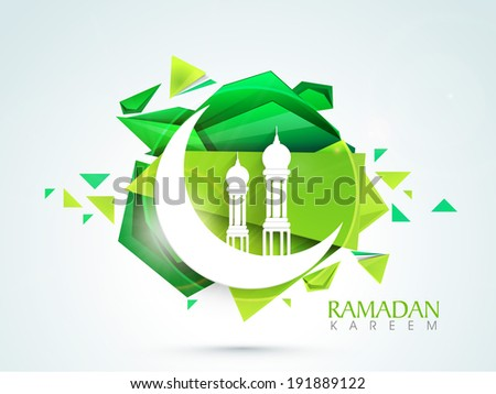 Beautiful illustration of mosque with crescent moon on creative green background for holy month of muslim community. - stock vector