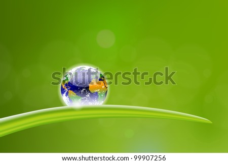 beautiful illustration of planet Earth dew drop - stock vector