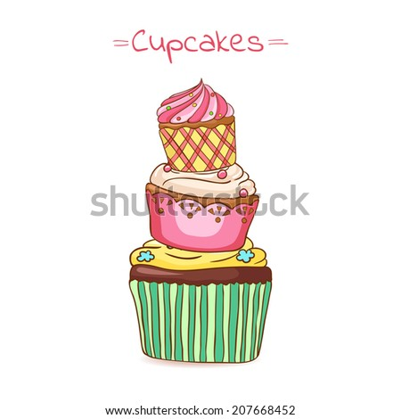 beautiful illustration pyramid of cupcakes made in vector - stock vector