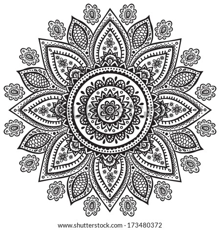 Beautiful Indian floral ornament  - stock vector