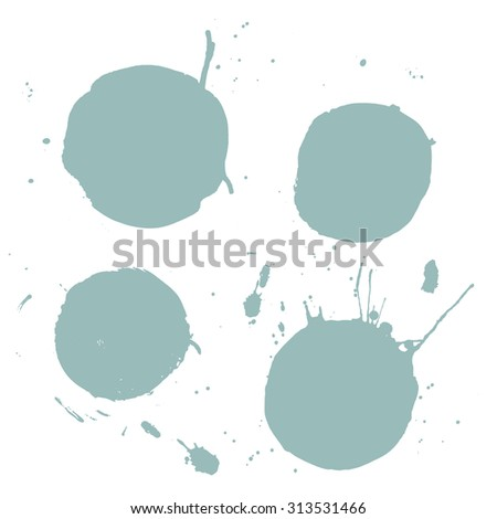 Beautiful ink design elements. Vector illustration. Ink vector stains.