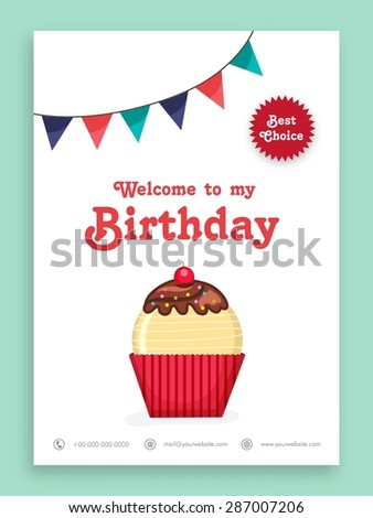 Beautiful invitation card design for Birthday Party celebration decorated with sweet cupcake and colorful buntings. - stock vector