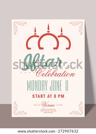 Beautiful invitation card with mosque, time, date and place details for holy month of muslim community, Ramadan Kareem Iftar party celebration. - stock vector
