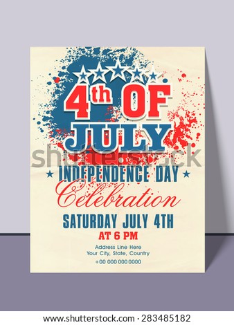 Beautiful invitation card with national color splash for 4th of July, American Independence Day party celebration. - stock vector
