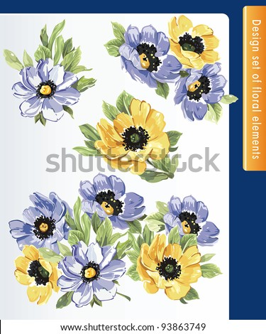 Beautiful isolated flowers on the white background. Big floral collection of color design elements. - stock vector