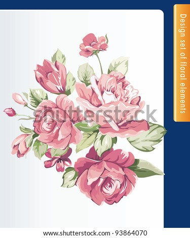 Beautiful isolated flowers on the white background. Color design elements. - stock vector