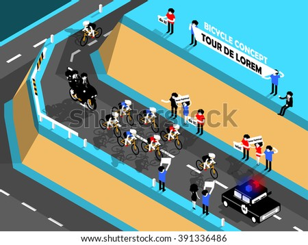beautiful isometric design of cycling race on the mountain, cycling race design concept - stock vector