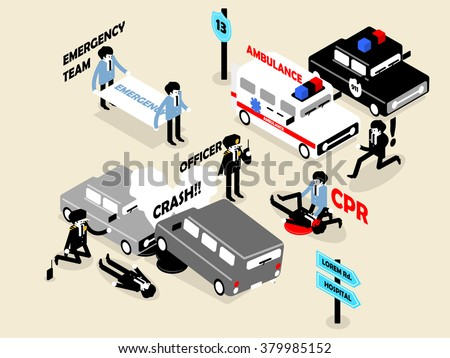 beautiful isometric style concept design of emergency situation scene. car crash, CPR performing and police officer - stock vector