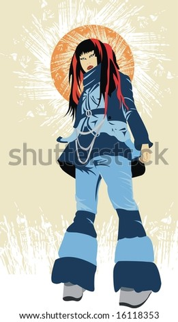 Beautiful Japanese girl on an abstract background - stock vector