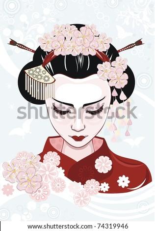 Beautiful japanese woman - stock vector