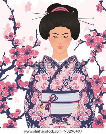 Beautiful japanese woman in kimono (traditional dress),  on pink floral sakura background - stock vector