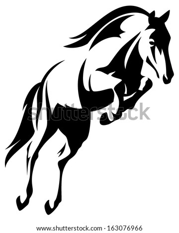 Beautiful jumping horse black and white vector outline - stock vector