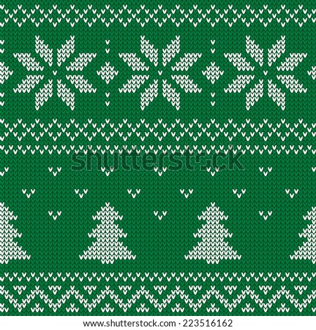 Beautiful knitted green jacquard seamless pattern with white flowers and Christmas tree. Vector illustration. - stock vector