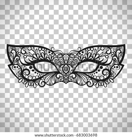 Beautiful Lace Mask Mardi Gras Vector Isolated On Transparent Background