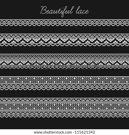Beautiful lace seamless segments for scrapbooking, card decoration etc (vector version) - stock vector