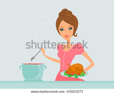 Beautiful lady cooking - stock vector