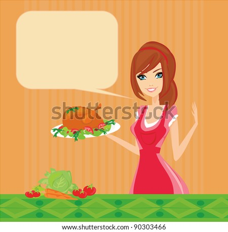 Beautiful lady cooking chicken - stock vector
